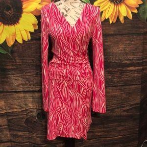 DVF Silk Wrap Dress Zebra Pink